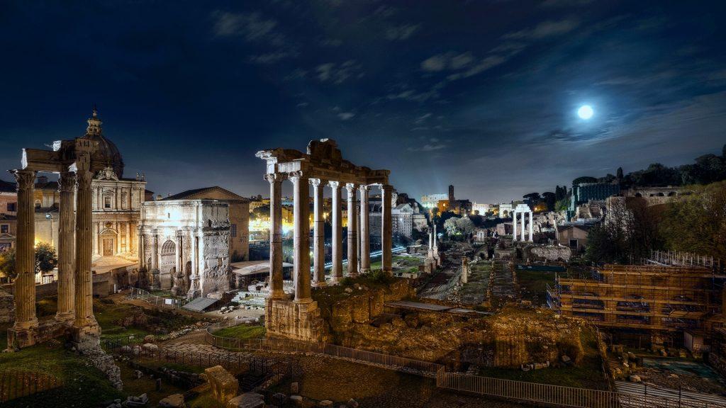 Full Moon over Roman Forum, Rome, Italy