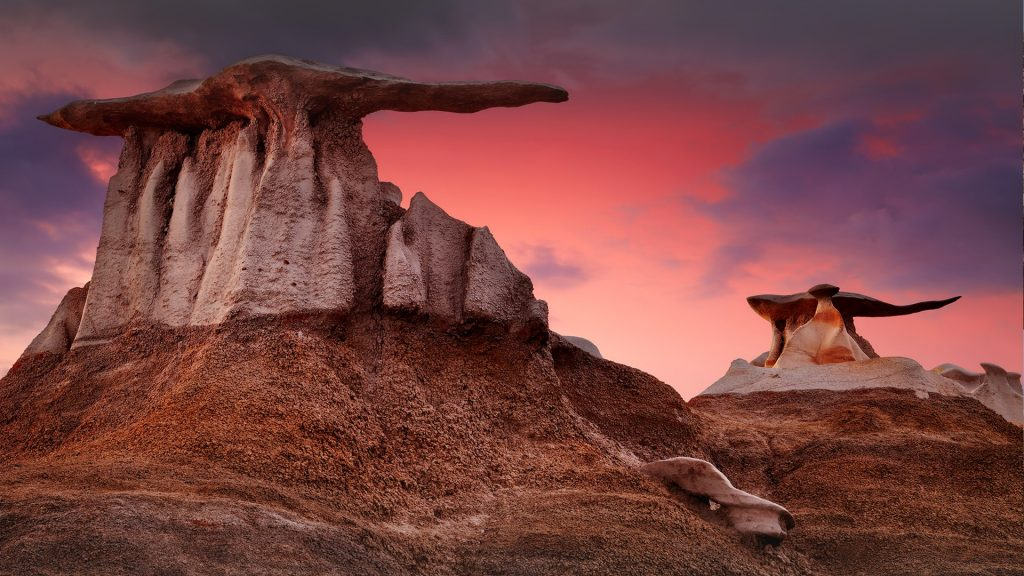 The Wings bizarre rock formations in Bisti Badlands, New Mexico, USA