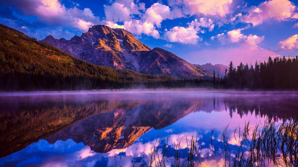 Spring sunrise at Mount Moran in Grand Teton National Park, Wyoming, USA
