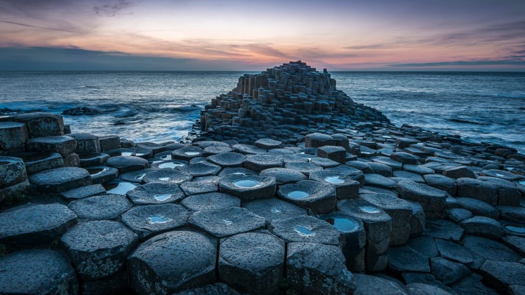 The Giant's Causeway in Co.Antrim after sunset, Northern Ireland, UK