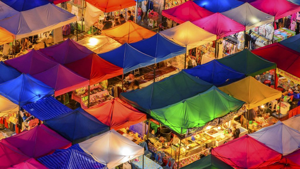 Pattern night market in Bangkok, Thailand