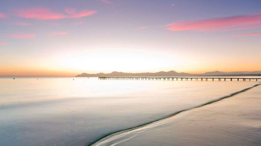 Footbridge at the sea in the morning light, Majorca, Balearic Islands, Spain