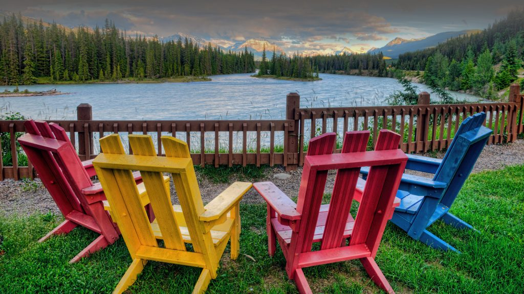 Adirondack chairs and the Athabasca River, Jasper National Park, Alberta, Canada