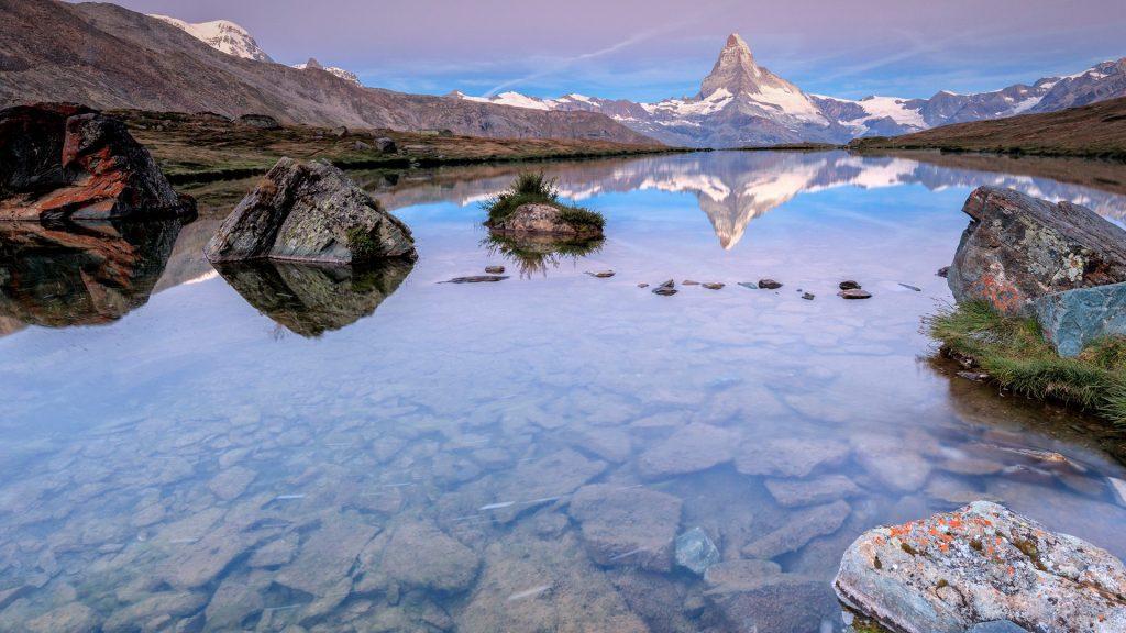 Matterhorn reflected in Lake Stellisee at dawn, Zermatt, Canton of Valais, Pennine Alps, Swiss Alps, Switzerland