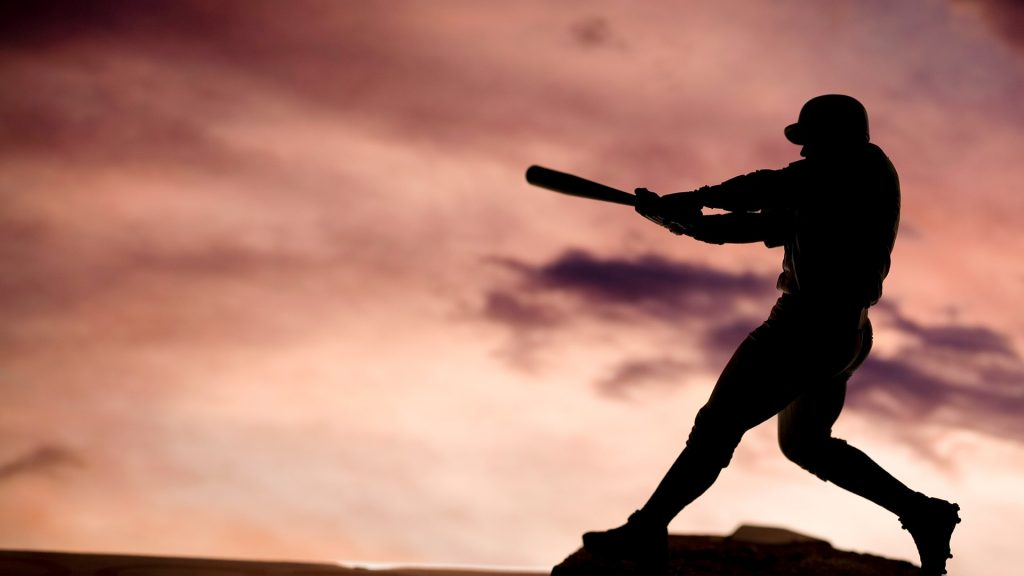 Silhouette shot of baseball player
