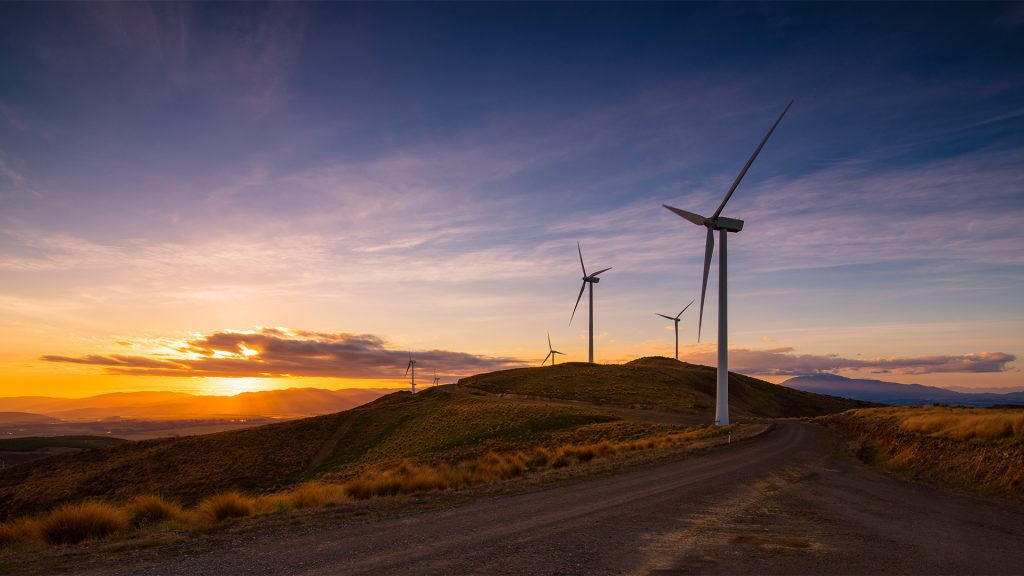 Sunset at wind farm, South Island, New Zealand