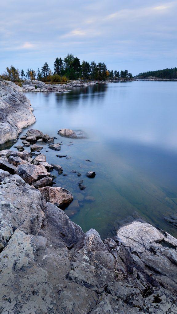 Ladoga Lake view from Iso Koirasaari Island, Karelia ...