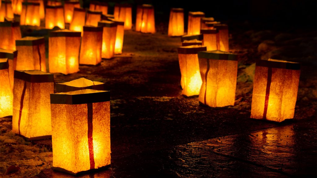 Christmas Eve Luminarias in Santa Fe, New Mexico, USA