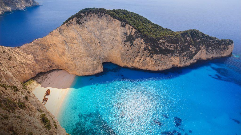 Shipwreck or Navagio beach, Smugglers Cove, Zakynthos island, Greece