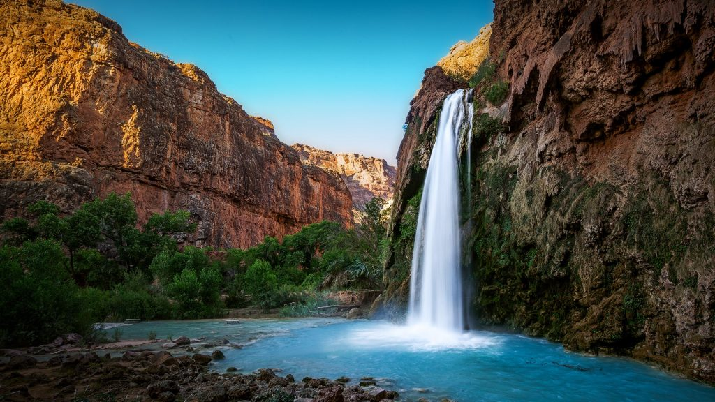 Havasu Falls before sunset, Supai, Grand Canyon, Arizona, USA