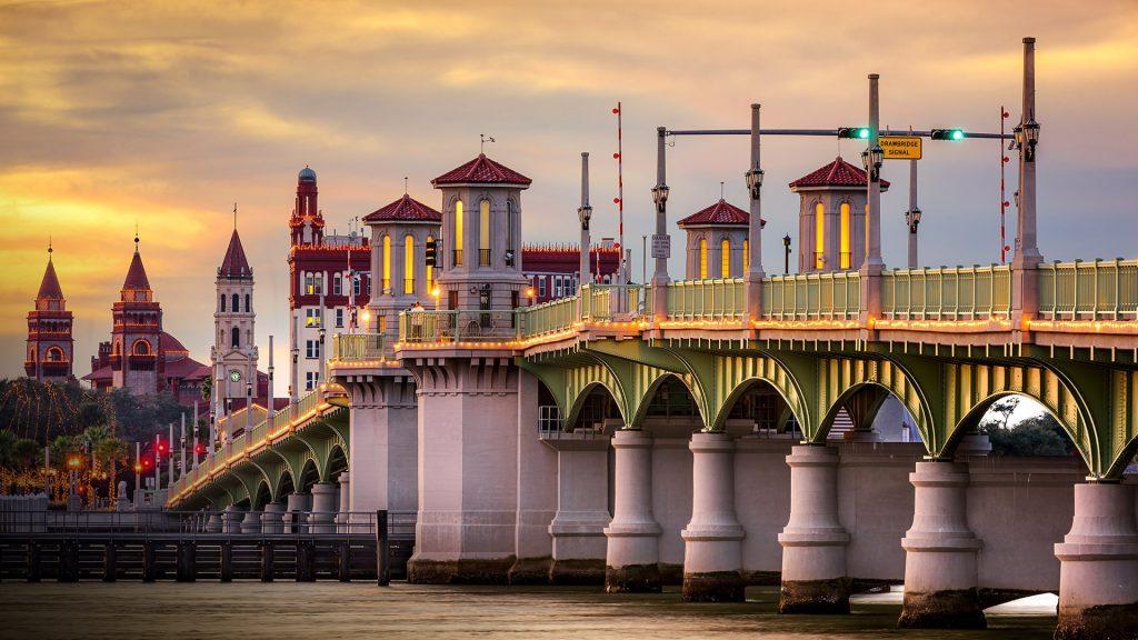 City skyline and Bridge of Lions, St. Augustine, Florida, USA