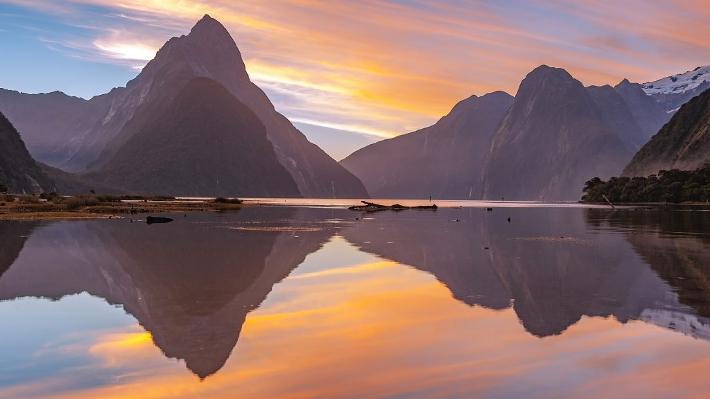 Landscape of high mountain glacier at Milford Sound, South Island, New Zealand