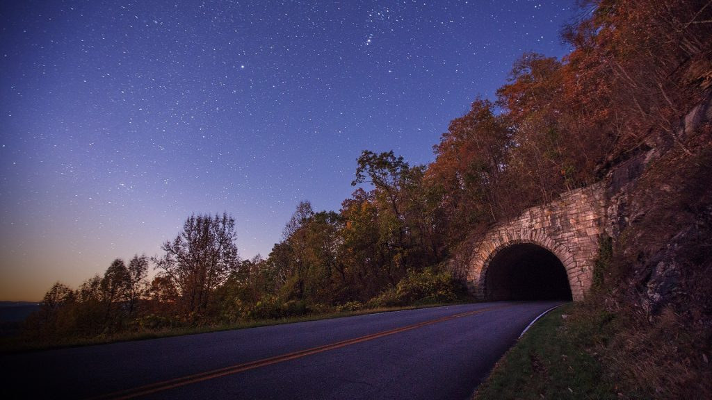 Ferrin Knob Tunnel on the Blue Ridge Parkway, south of Asheville, North Carolina, USA