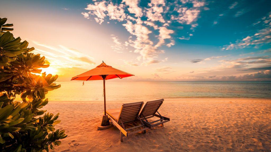 Beautiful beach sunset at Maldives