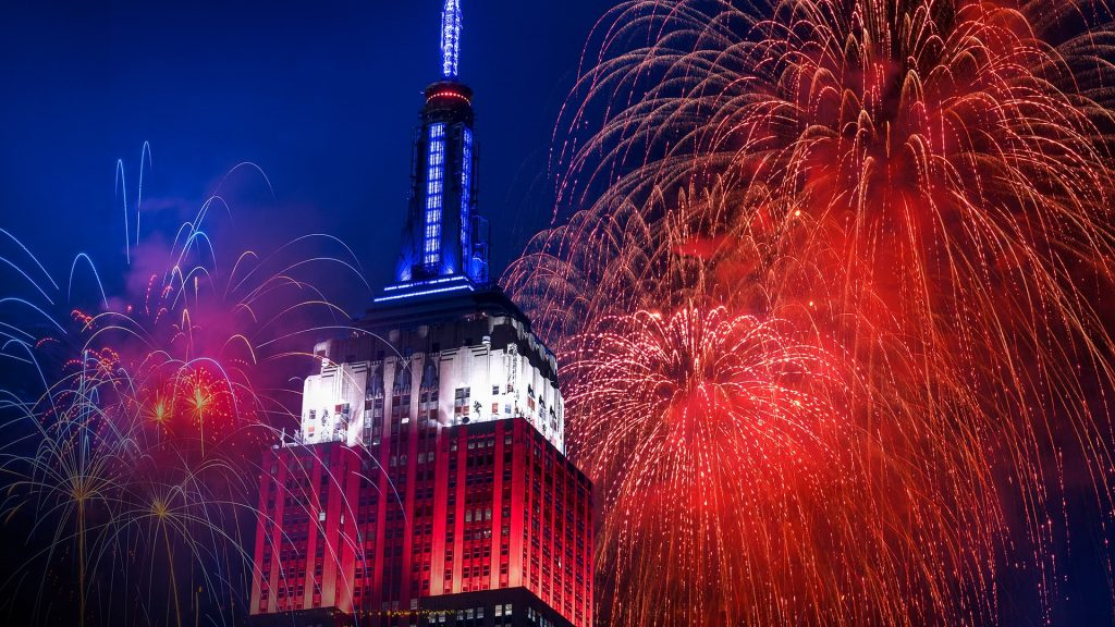 Independence Day celebration with fireworks, Empire State Building, New York City, USA