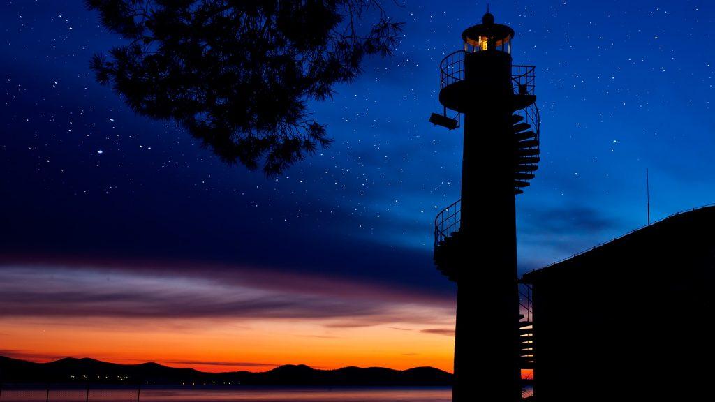 Oštri Rat Lighthouse at sunset, Zadar, Croatia