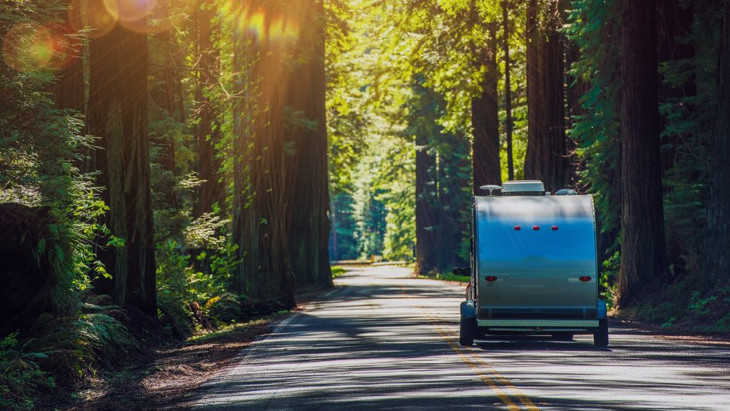 Travel Trailer on Redwood Highway, California, USA