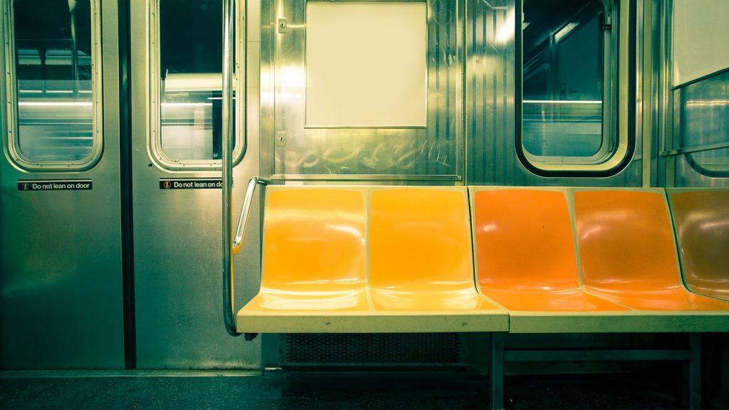 Vintage toned image of empty New York City subway car, USA