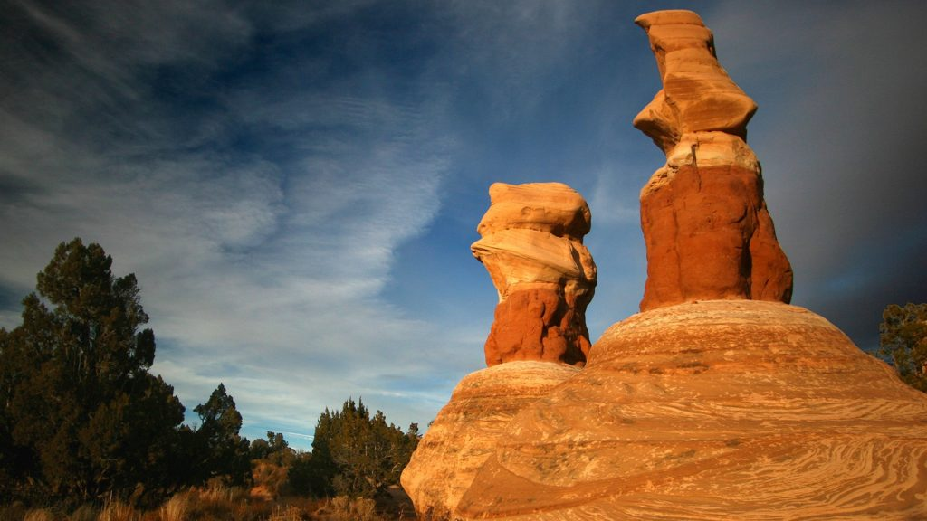 Humanoid formations at Devil's Garden near Escalante before sunset, Utah, USA