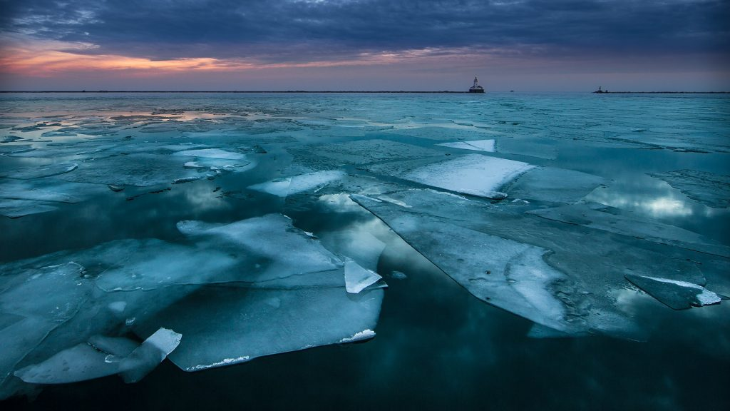 Winter sunrise over lake Michigan view from Navy Pier in Chicago, USA