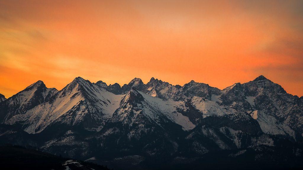 Tatry Bielskie and Tatry Wysokie, Tatra Mountains just before sunrise, Litwinka, Poland