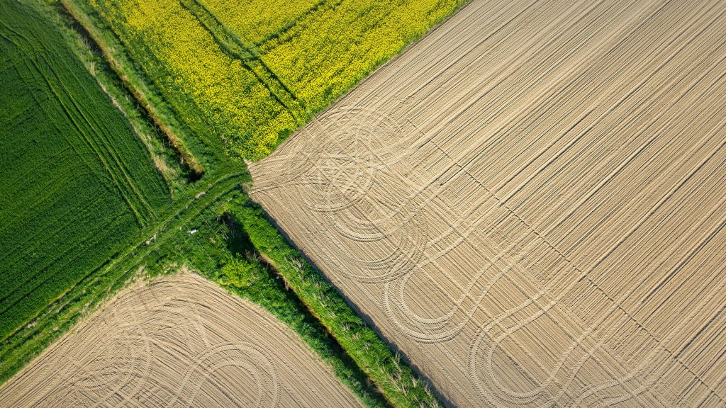 Aerial view on the tractor traces on the field, Nysa, Poland