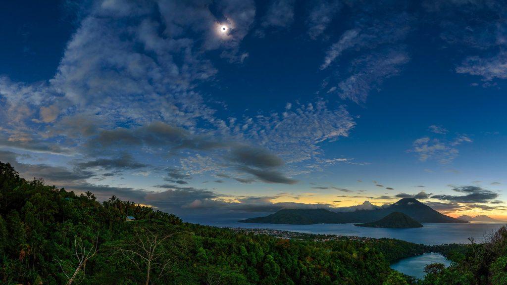 The total solar eclipse over Maluku Islands, Ternate, Indonesia