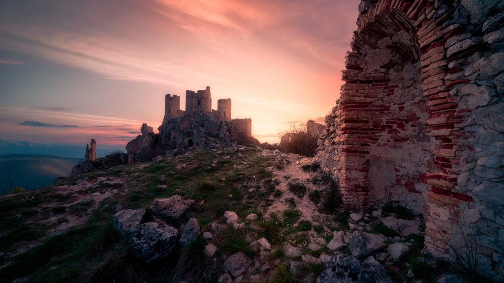 Landscape over Calascio fortress, ancient village of Abruzzo, Italy