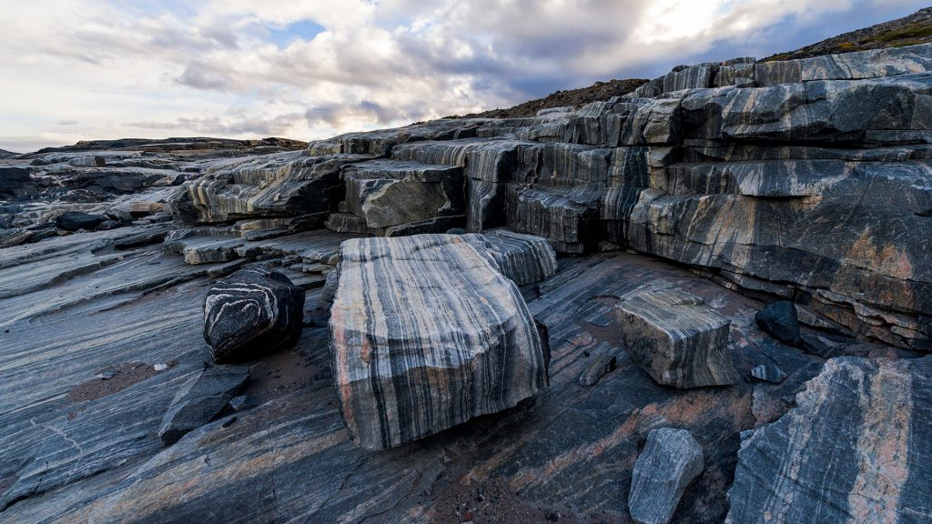Striations carved into a bedrock by ice erosion as a glacier receded, Isua Greenstone Belt, Greenland
