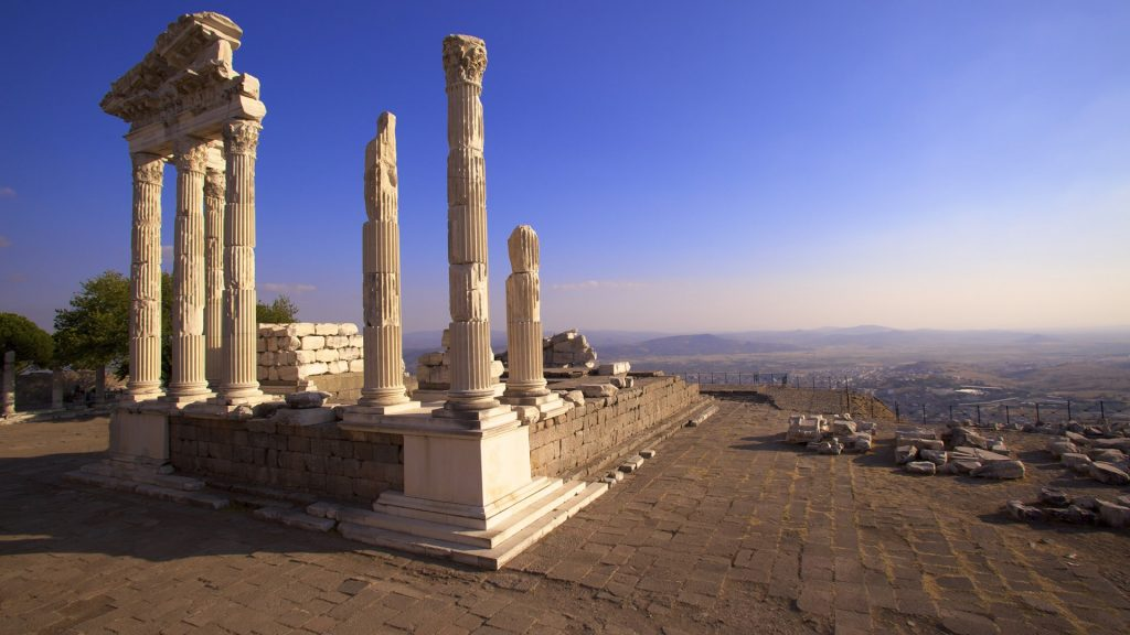 Temple of Trajan at acropolis in Izmir, Bergama (Pergamon), Anatolia, Turkey