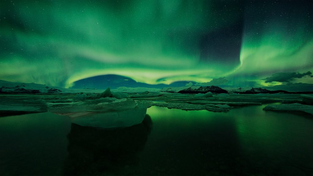Aurora Borealis or Northern Lights, Jökulsárlón, Iceland