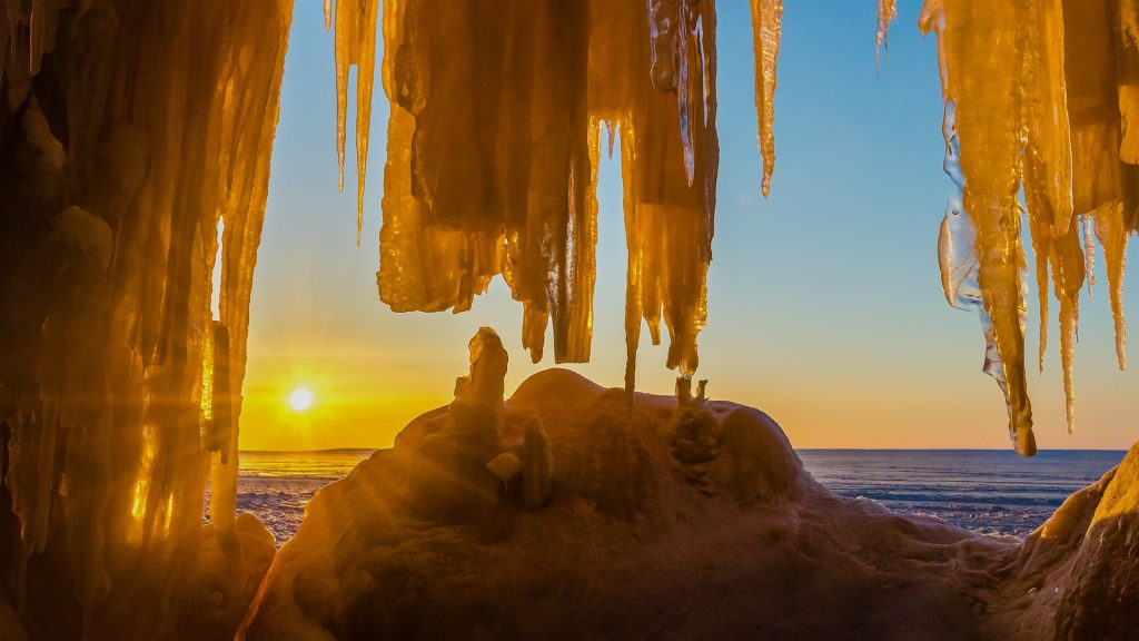 Apostle Islands Ice Caves at the coast of Lake Superior, Bayfield, Wisconsin, USA