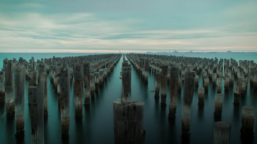 Moody sky over Princes Pier, Port Melbourne, Victoria, Australia