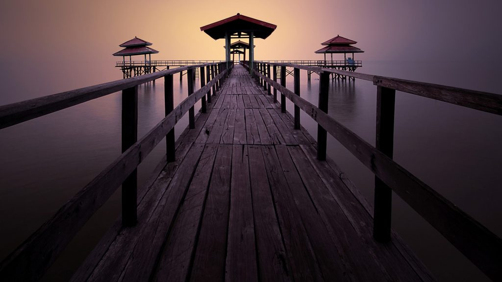 Pier at Kenjeran beach, Surabaya, East Java, Indonesia