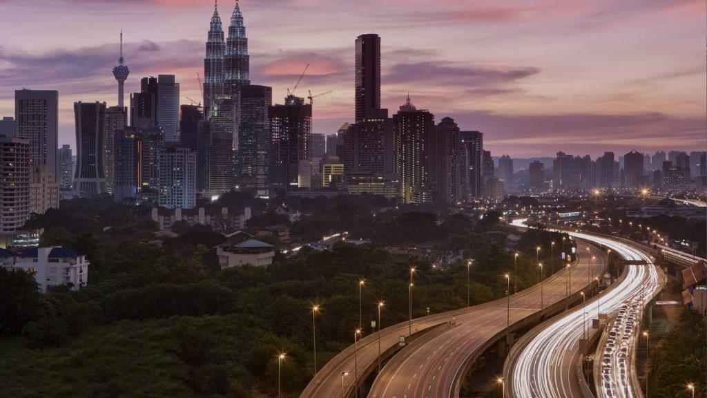 City skyline, Kuala Lumpur downtown at dusk, Malaysia