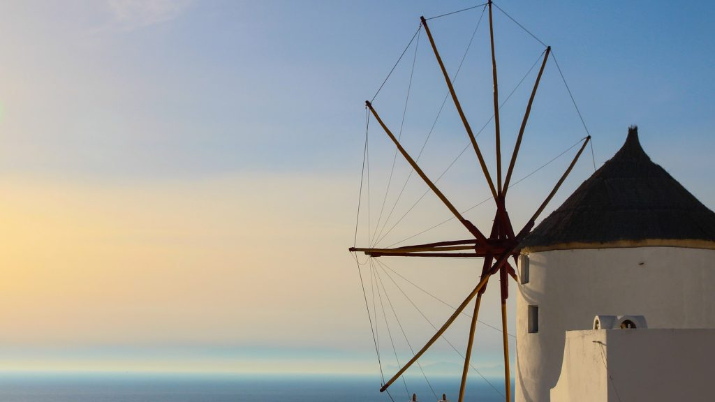 Traditional windmill at Oia Village on Santorini Island, Greece