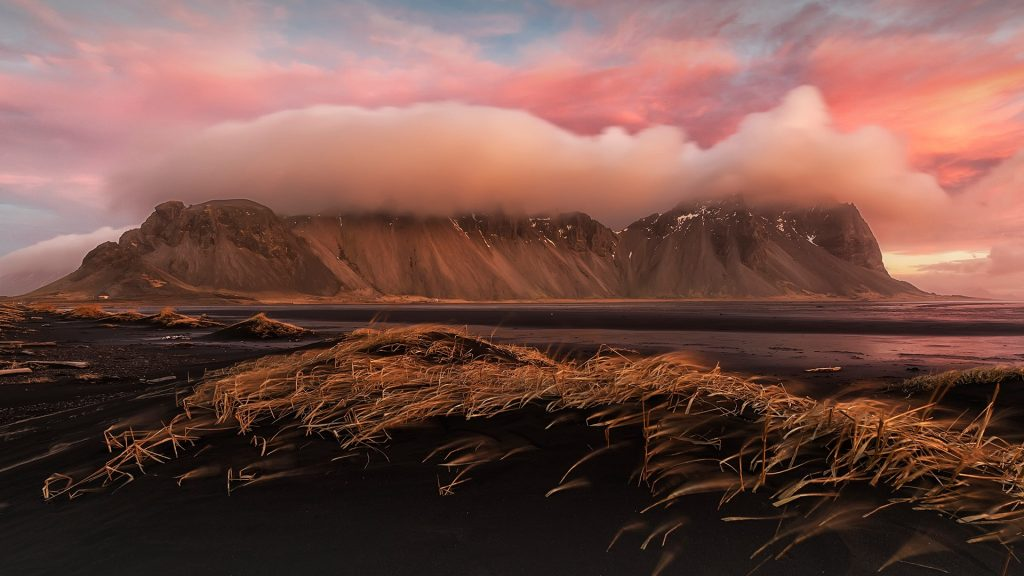 Sunrise over Stokksnes, near Höfn, Iceland