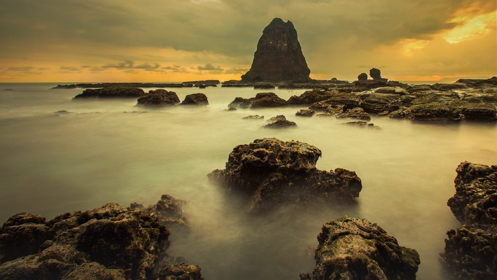 Tanjung Papuma at sunset in Jember Regency of East Java, Indonesia