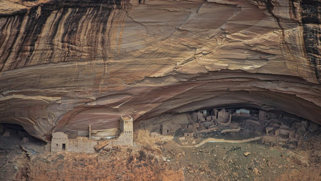 Anasazi ruins view from North Rim, Canyon De Chelly National Monument, Arizona, USA