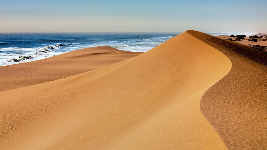 Namibia desert beach sand dune in Sandwich Harbour