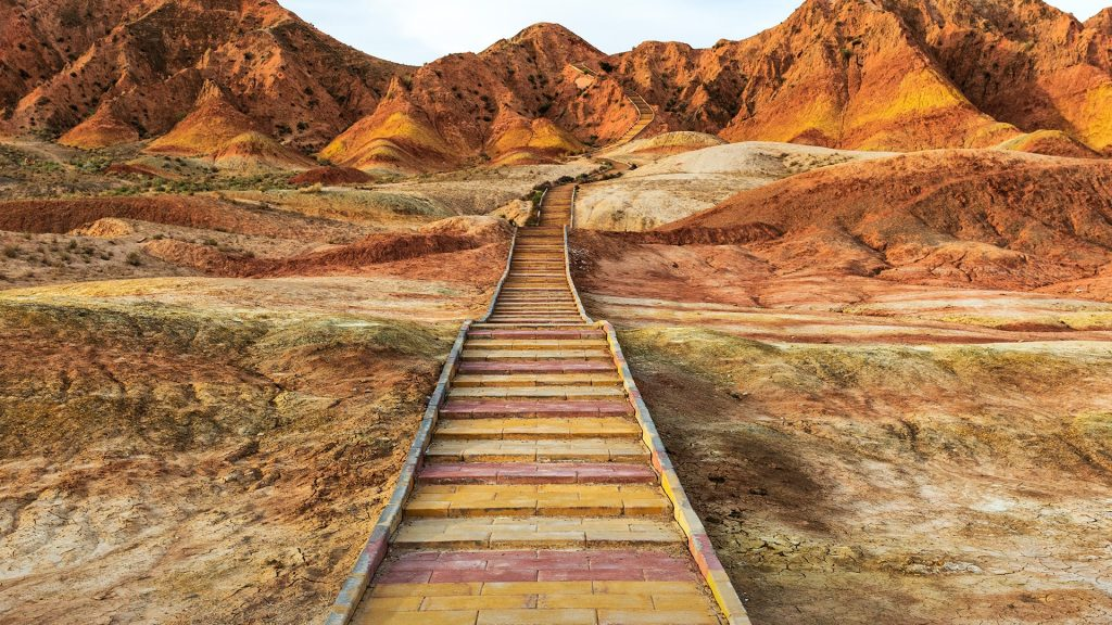 Danxia landform with colorful mountain in Zhangye, Gansu of China