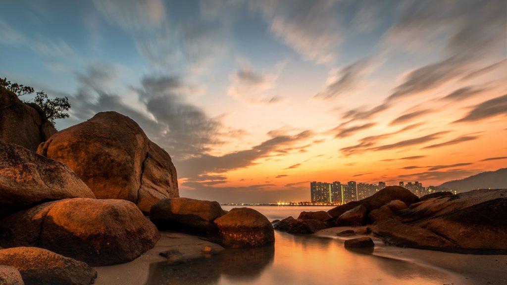 Shoreline afterglow, Tuen Mun, Hong Kong