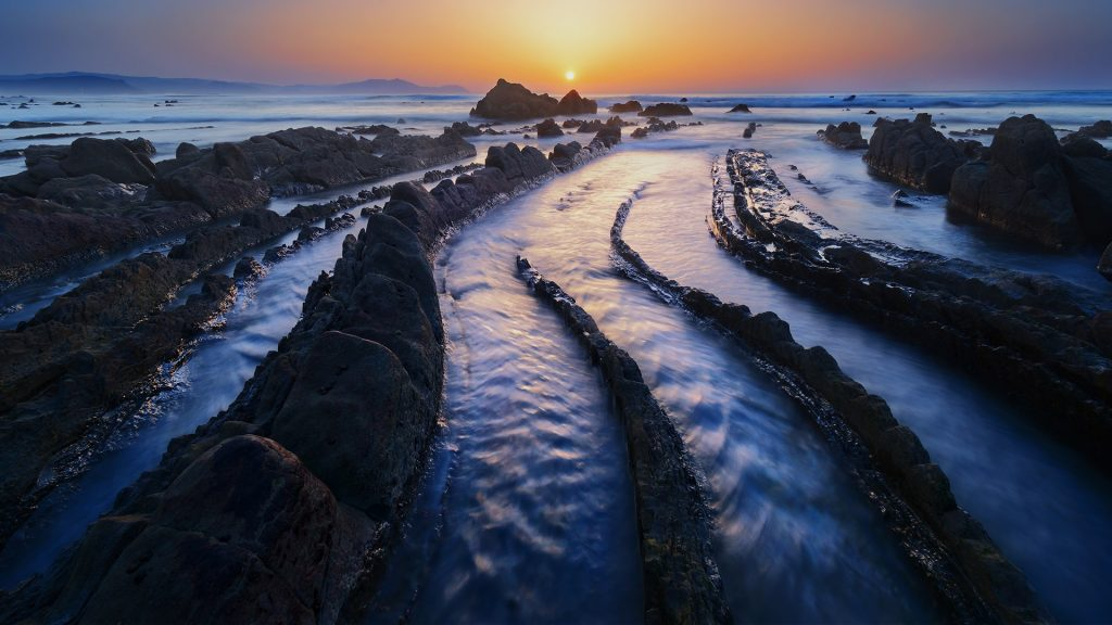 Barrika beach at sunset, Basque Country, Biscay, Spain