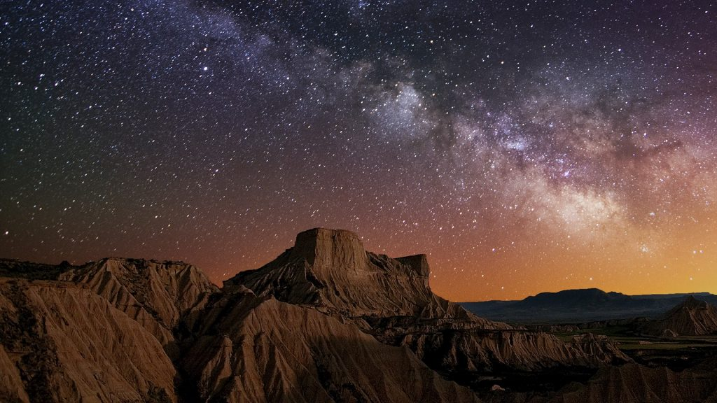 Milky Way over the desert of Bardenas near Pamplona, Spain