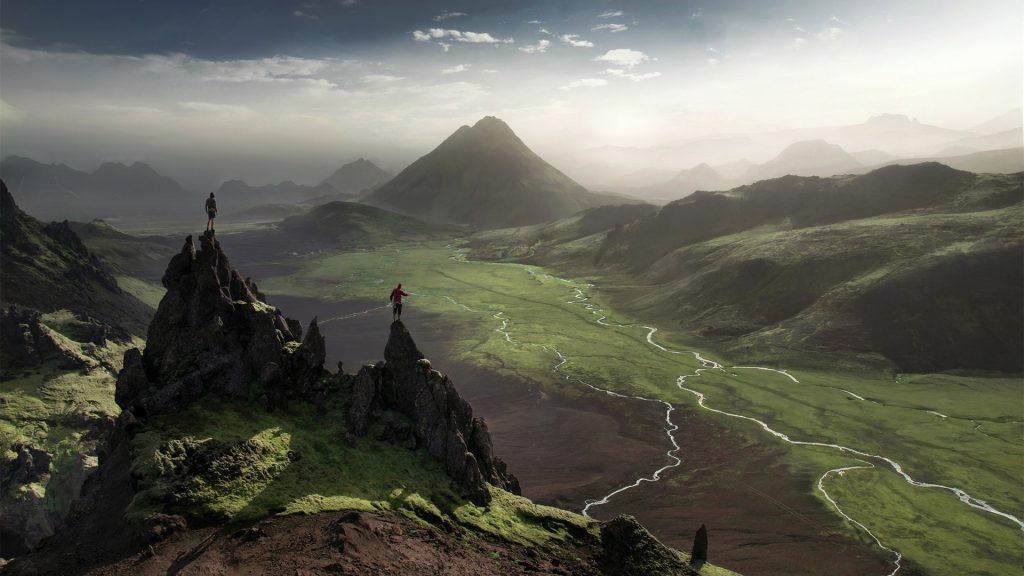 Highlands in Iceland between Thórsmörk and Landmannalaugar