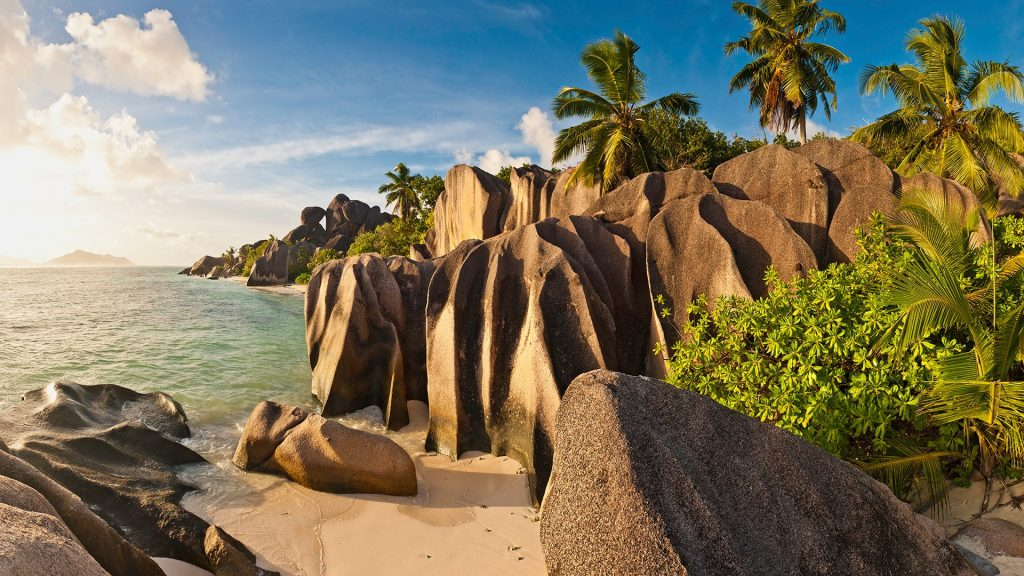 Tropical beach and island lagoon at Anse Source d'Argent, La Digue, Seychelles