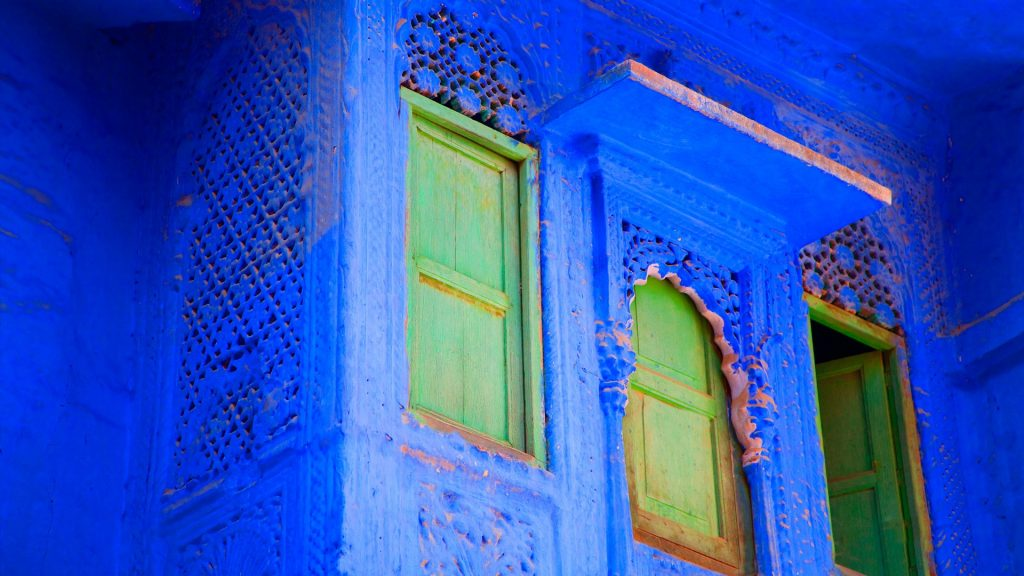 Blue painted building, Jodhpur, Rajasthan, India