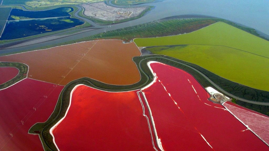 Multicolored salt evaporation ponds in San Francisco Bay, California, USA