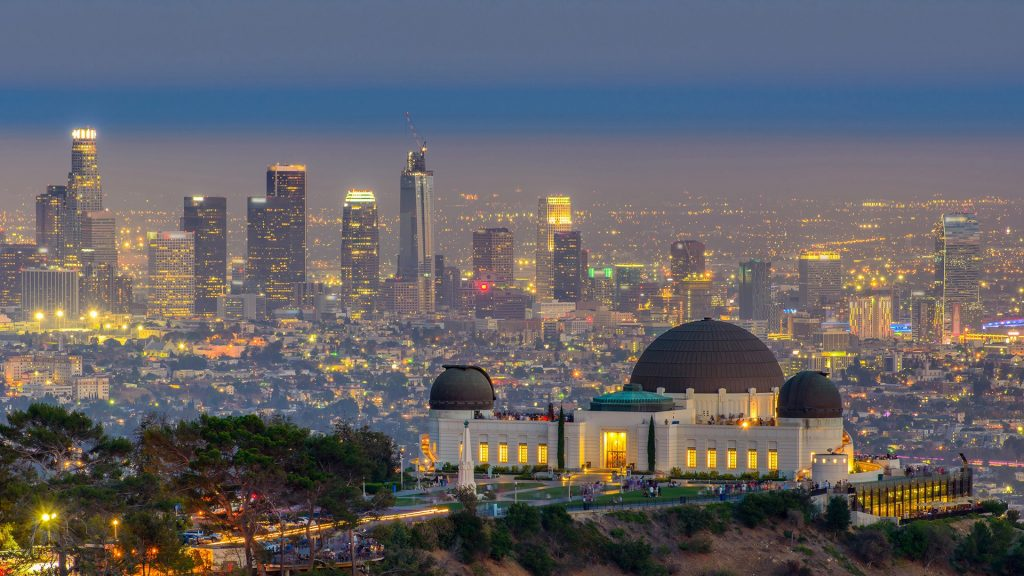 Griffith Observatory and Los Angeles city skyline at twilight, California, USA