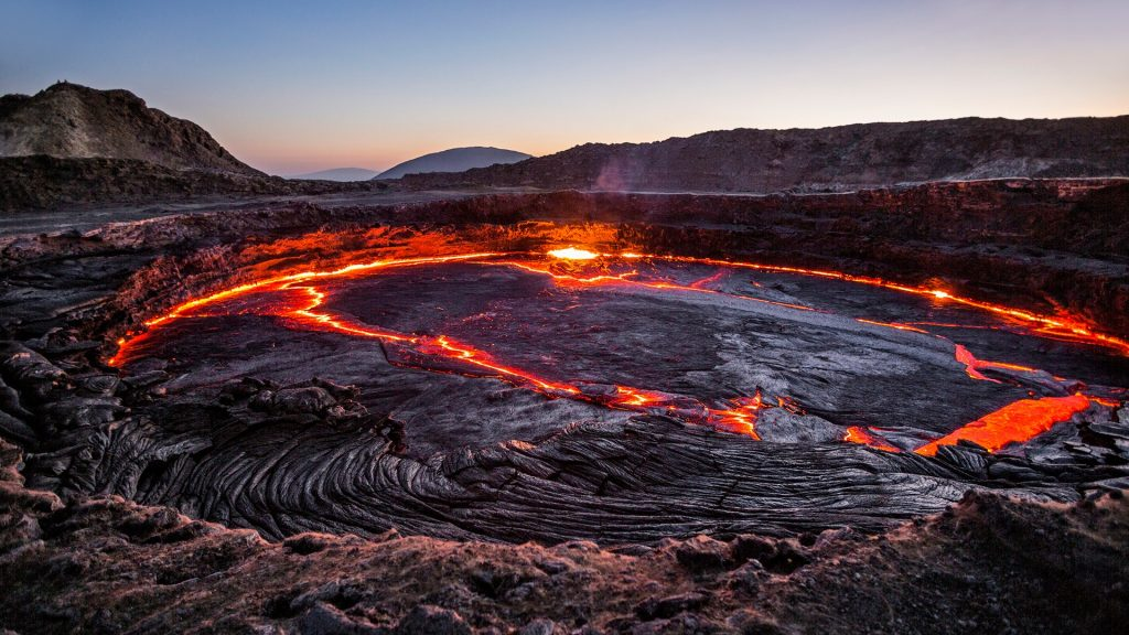 Lava lake in the Erta Ale volcano, Danakil depression, Ethiopia